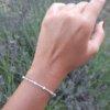 Çevresi Zirkon Taşlı Küp Zirkon Gümüş Bileklik